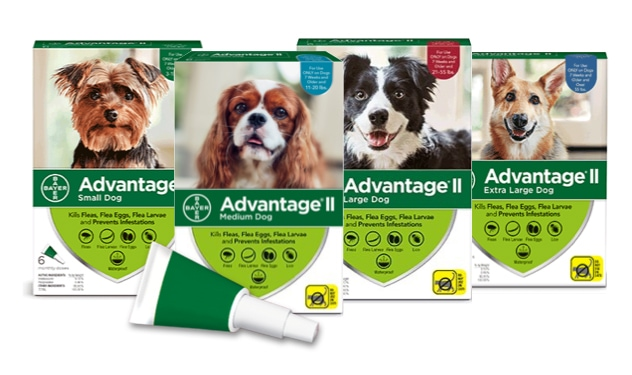 A collection of the Advantage II for Extra Large Dog, Large Dog, Medium Dog and Small Dog product packages with topical applicator.