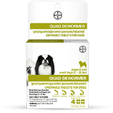 Quad Dewormer packaging with chewables tablet