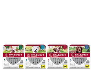 Coupon for $4 off the purchase of a 4 pack of K9 Advantix® II for dogs.