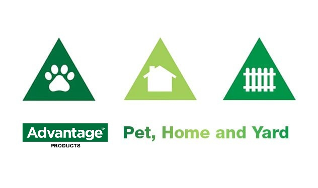 Icons of a paw print in a triangle, a house in a triangle and a fence in a triangle.