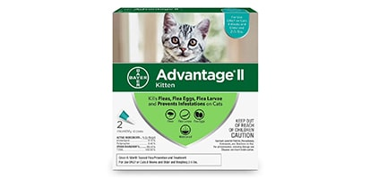 Advantage® II for Cats packaging.