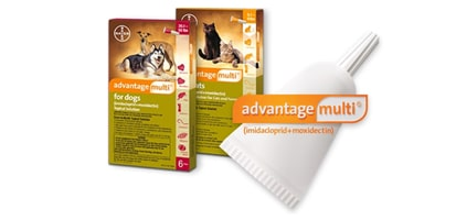 Advantage Multi® for dogs and cats packaging.