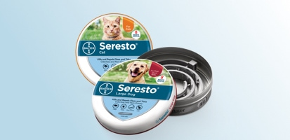 Seresto® Collar for Large Dog and Cat product packages.