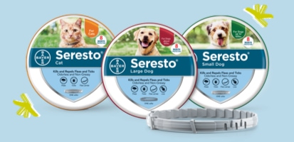 Three Seresto® packages for Cat, Large Dog and Small Dog.